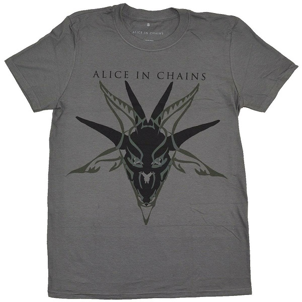 Alice In Chains Men/'s Tee Black Skull