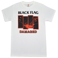BLACK FLAG Damaged Tシャツ WHITE