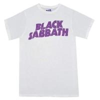 BLACK SABBATH Wavy Logo Vintage Tシャツ WHITE