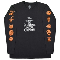 THE NIGHTMARE BEFORE CHRISTMAS All Characters Orange ロングスリーブ Tシャツ