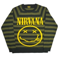 NIRVANA Striped Smiley セーター