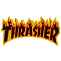 THRASHER Flame Logo ステッカー BLACK USA企画