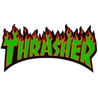 THRASHER Flame Logo ステッカー GREEN USA企画